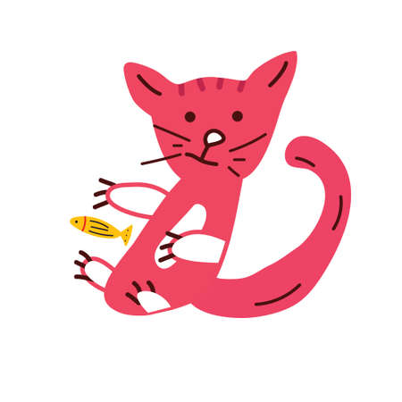 Funny red cat with fish on a white background, vector illustration for print