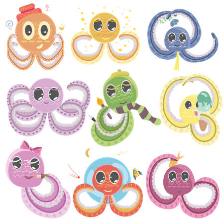 illustration collection of cartoon octopuses in doodle style in different colors, set of children's characters, vector illustration