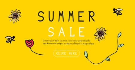Summer sale banner on a yellow background with bees, flowers, vector illustration for advertising