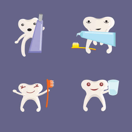 Set of healthy teeth with a toothbrush, a glass of water and toothpaste, a collection of funny baby teeth