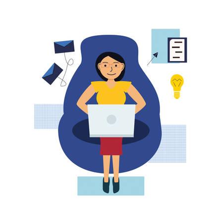 Mädchen arbeitet online mit einem Laptop und sitzt auf einem Sessel. Das Konzept der Arbeit in der Ferne. Vektor-Illustration Vektorgrafik