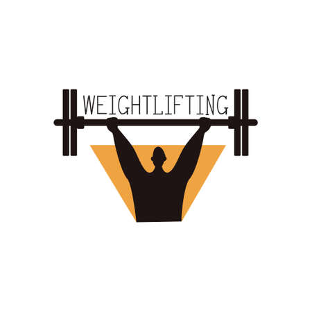 Weightlifter logo with athlete, vector illustration on a sports theme