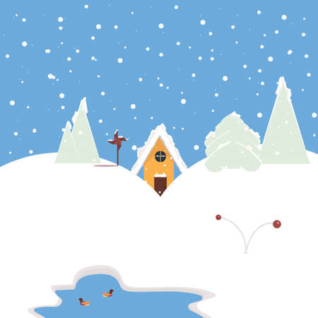 Winter, Christmas picture with a snowy landscape for printing postcards, stickers, printing on T-shirts, mugs. New year vector illustration