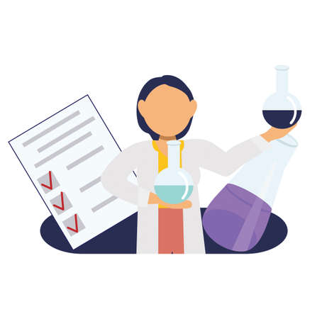 Girl doctor chemist conducts research in medicine, icon for medical sites, presentations, vector illustration