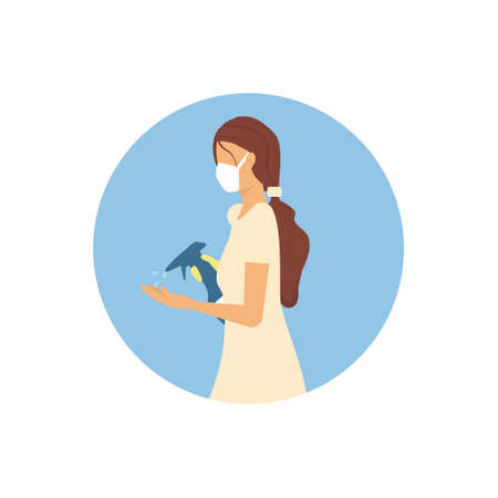 Girl in a medical mask with a disinfectant handles her hands, vector illustration
