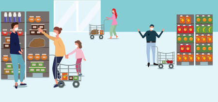 People in medical masks in a supermarket buy food during an epidemic, mother and daughter go shopping, few people in the store, vector horizontal illustration