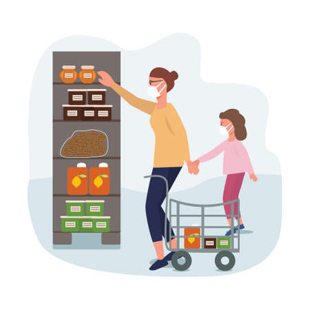 Mom with daughter in a grocery store in medical masks during an epidemic. Quit quarantine. Family makes purchases from home. Coronavirus protection. Vector illustration Ilustrace