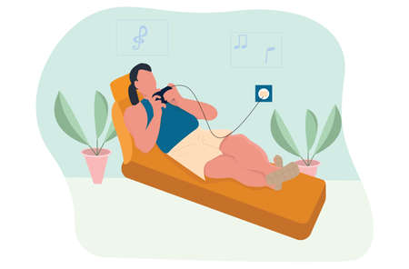 In the room a man lies on a sofa with a mobile phone in his hands online and plays a game or dials a phone number, vector illustration in a flat style