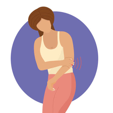 Girl suffers from acute pain in the elbow joint. inflammation, arthrosis or bursitis, vector illustration in flat style.