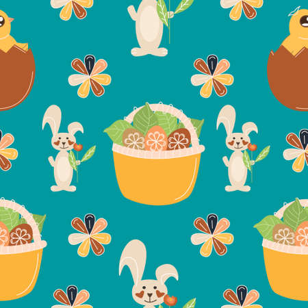 Seamless pattern with easter eggs, rabbit, chicken and flowers, vector spring illustration for print Vecteurs