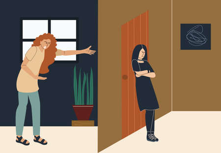 An angry mom yells at her daughter, who is hiding in her room. Quarrel with goth girl, parent-teen relationship problem, family conflict, vector illustration in flat style 矢量图像