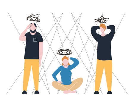 People suffer from obsessive compulsive disorder, OCD concept, disorientation state, neurosis in women and men, frustration state, mental problems. Vector illustration in flat style