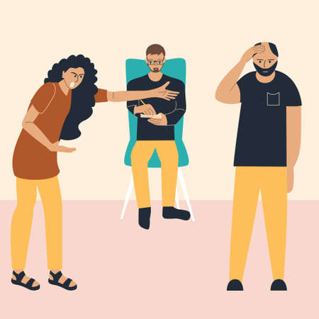 Psychologist's concept for couples. A woman and a man are fighting at a psychotherapist's appointment. A crisis in the relationship between husband and wife. Vector illustration in flat style