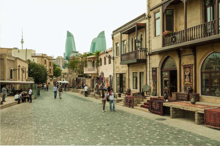 baku: The streets of the inner city of Baku, Azerbaijan Editorial