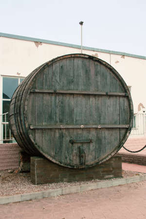 inebriation: Large, wooden barrels for wine production in the wine factory in Taman Krasnodar region of Russia Stock Photo