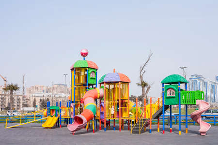 Playground with playing on it in the seaside Park of Baku city of the Azerbaijan Republic, March 15, 2017