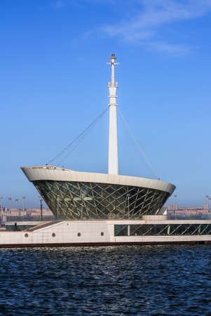 The building of the lighthouse in the Baku Bay at the entrance to the seaport. Azerbaijan