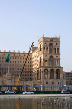 ministry: March 15, 2017 Liberty square, Baku, Azerbaijan. The construction of the terminal for the competition of the Formula 1 at the government house