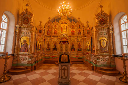 The iconostasis of the Church of the Resurrection on the island of Valaam, Republic of Karelia, Russian Federation