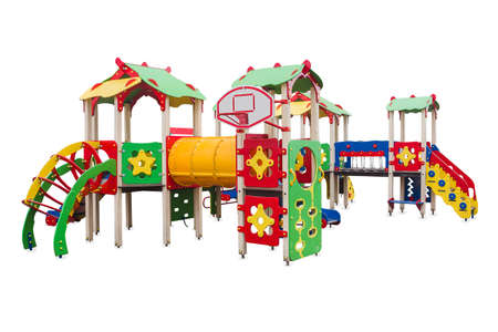 Children's playground in a park built for the development of people and Entertainment. Isolated. Banco de Imagens