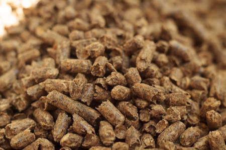 Fuel wood pellet close-up. A source of alternative clean energy. A lot of pellet. Natural fuel and energy of future.