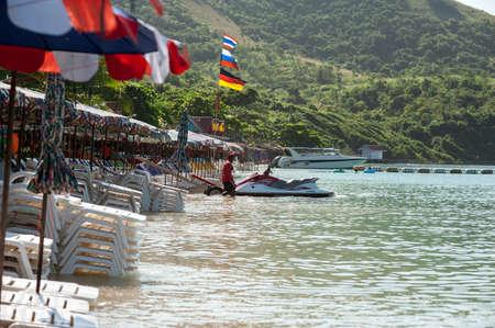 personal watercraft: Man on Jet Ski having fun in Ocean Stock Photo