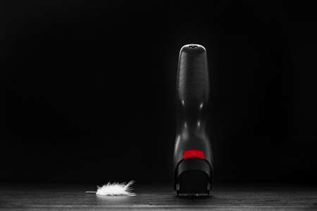 trimmer: hair trimmer closeup on a black background Stock Photo
