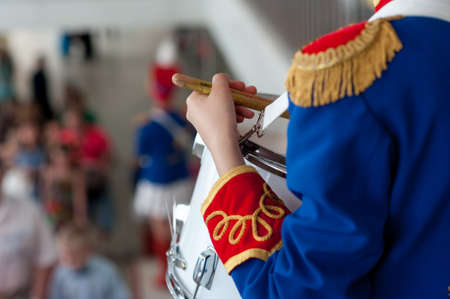 hussar: girl, drummer in the form of a hussar on holidays