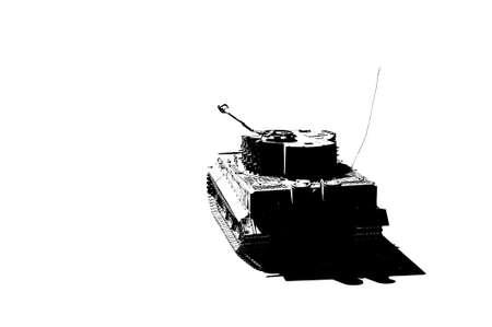 silueta tigre: Silueta del tanque del tigre, el segundo mundo está aislado en el fondo blanco. La máquina de guerra. blanco y negro icono.