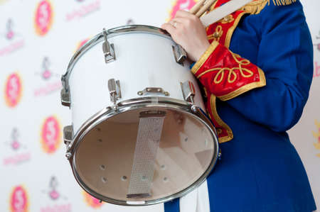 hussar: girl, drummer in the form of a hussar