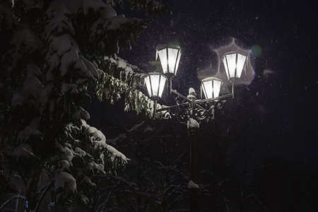 new yea: Street lamps in snowfall close up photo. Night.
