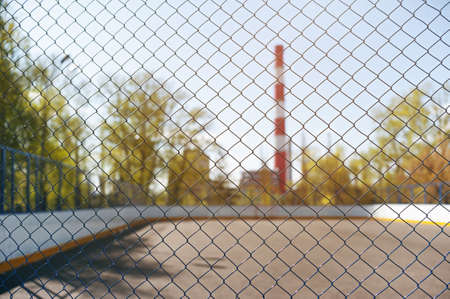 Steel mesh. look at the playground. ecology and sport. playing sports in the city.