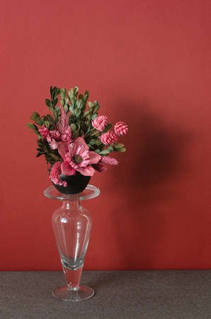 Beautiful bouquet of pink flowers in a vase