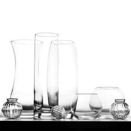glass vases isolated on white background.