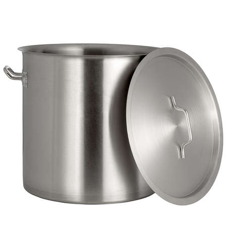 pan with stainless steel lid on a white background 스톡 콘텐츠