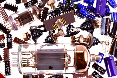 diodes: Processor chip, transistors, diodes, resistors, capacitors, located on the motherboard Stock Photo