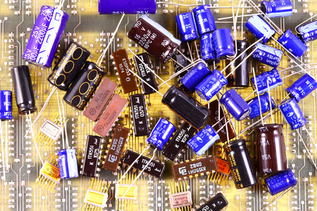 Processor chip, transistors, diodes, resistors, capacitors, located on the motherboard Фото со стока