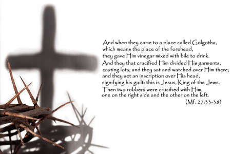 The concept of the Holy week. Thorn and shadow of the cross on a white background.