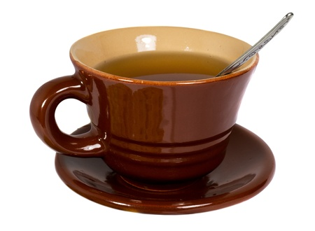 Brown cup of tea Stock Photo