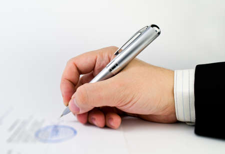 Signing a document photo