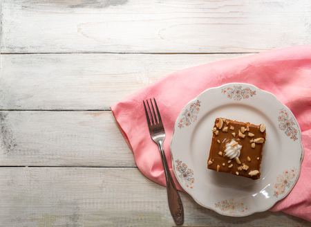 Fresh chocolate creamy cake with nuts Stock Photo