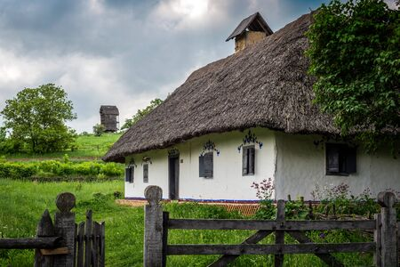 Beautiful scenery of the traditional ukrainian country village