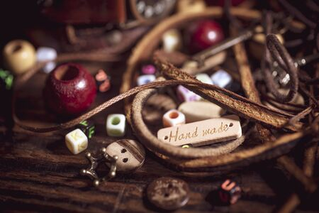 Materials for handmade decorations, leather, beads, ropes, buttons