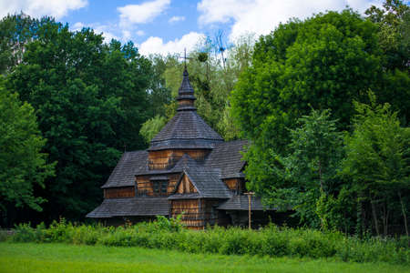 Moody atmospheric wooden Ukrainian church