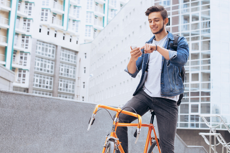 Man riding a bicycle outside