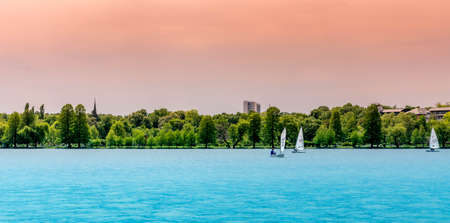 wind surfing: Wind surfing on Herastrau Lake in Bucharest Romania Editorial
