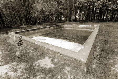 hitler: old swimming pool located in the forest on a glade. In an abandoned swimming pool there is still some water. Pool is considered part of the territory which is called Hitler