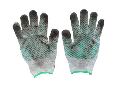 work gloves: a pair of dirty work gloves