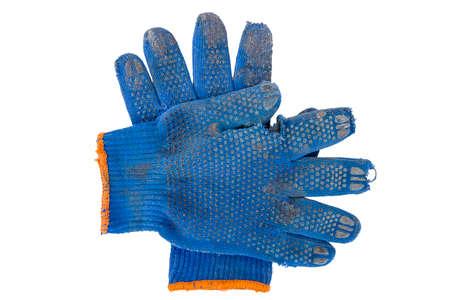 gardening gloves: torn blue gardening gloves Stock Photo
