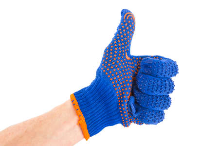 beautification: Hand in blue gloves on a white background. The gesture of the hand shows all great Stock Photo